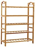 NOVICZ Wooden Foldable 5 Tier Shoe Rack Stand Footwear Cabinet Organaiser Bamboo