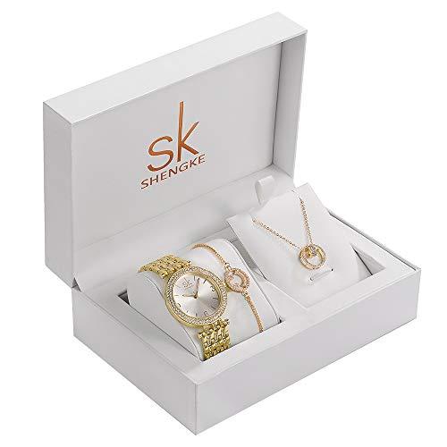 Damen Armbanduhr Analog Quarz Uhr Danmenuhr Set Schmuck Set Armband Halskette für Frauen Mutter Mädchen