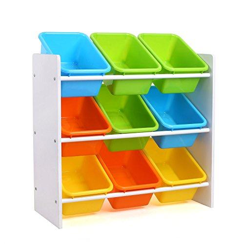 Homfa mensola porta giocatoli con scatole per bambini, organizzatore portagioccatoli scaffale legno con 9 cesti in plastico