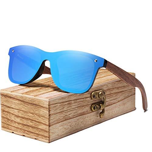 Zbertx Mens Sonnenbrillen polarisierte Walnuss Holz Spiegel Objektiv Sonnenbrille Frauen Bunte Shades Handmade,Blau