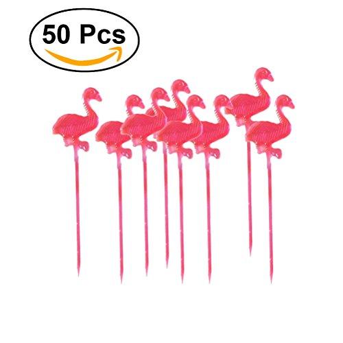 BESTOMZ Palillos de cóctel de plástico Hecho a Mano Palillos Madera 50PCS (Rojo)
