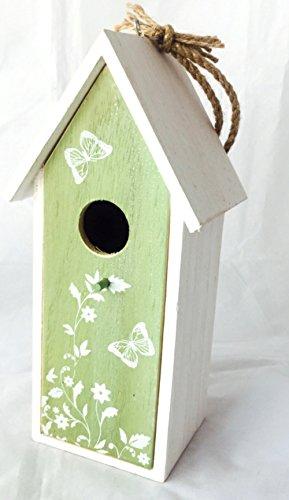 Vogelhaus Nistkasten aus Holz grün zum hängen mit Schmetterlingen mit herausnehmbarem Innenteil und Futtertrog innen, 25cm x 9cm x 8cm Gesamtlänge ca. 50cm dank Kordel zum hängen, - 2