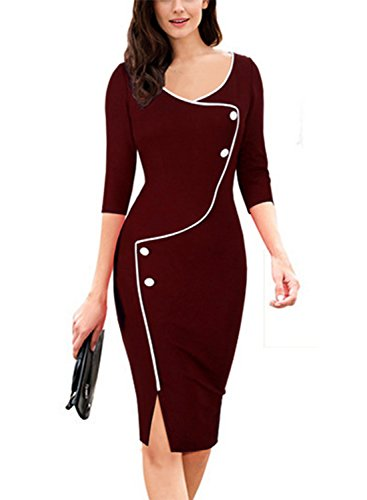 MABELER Damen Knielang Etuikleid Business Kleid Elegantes Abendkleid Pencil Kleider (Medium, Burgund)