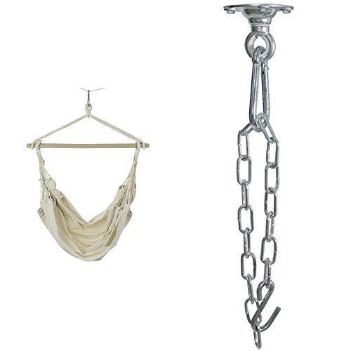 Ultranatura Hängesessel mit Querstrebe, Hängestuhl aus der Bali-Serie, bis 150 kg belastbar, XL Hängesitz für 2 Personen, 185 x 125 x 5 cm & AMAZONAS Deckenhaken kugelgelagert Power Hook bis 200kg