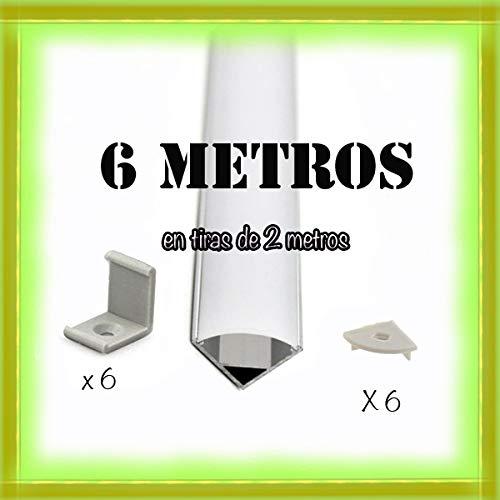 Perfil aluminio tira LED difusor opaco PACK 6 metros