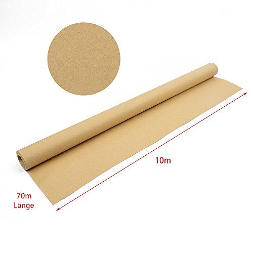 Kraftpapier Rolle, hochwertiges Naturpapier, Vintage Geschenkpapier, 90 g/qm, 10 Meter Länge, 70 cm Breite, glatte Oberfläche