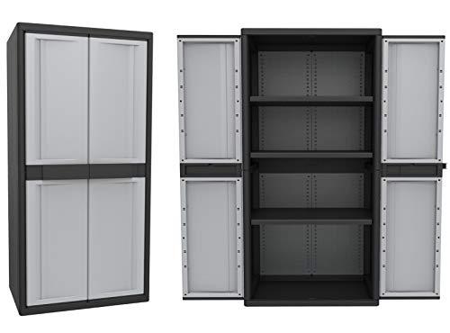 Garage Storage-boden-schrank (Kreher XXL Schrank Set: 1 Jumbo Spindschrank für Besen und sperrige Gegenstände + 1 Jumbo Schrank mit verstellbaren Böden. In Grau. Abschließbar. Maße pro Schrank BxTxH ca. 89 x 54 x 180 cm.)