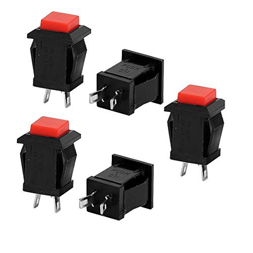 DealMux a15071500ux0851 SPST Momentary Red Square Push Button Switch, 5 Stück, AC 125 V / 250 V, 4 A / 2 Amp -