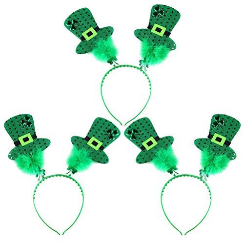 STOBOK 3 STÜCKE St. Patrick's Day Kleeblatt Kopf Boppers Klee Zylinder Haarband Kopfschmuck