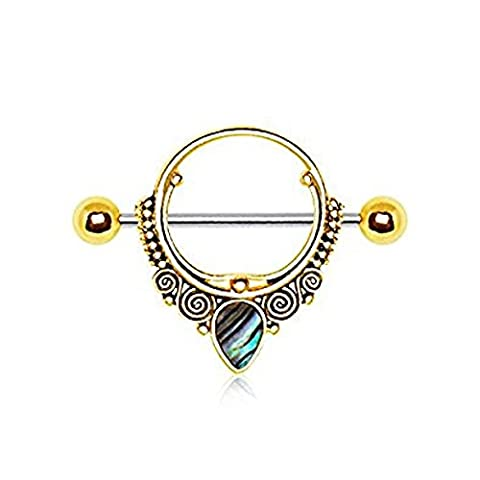 Gold Plated Ornate Nipple Shield with Tear Drop Abalone