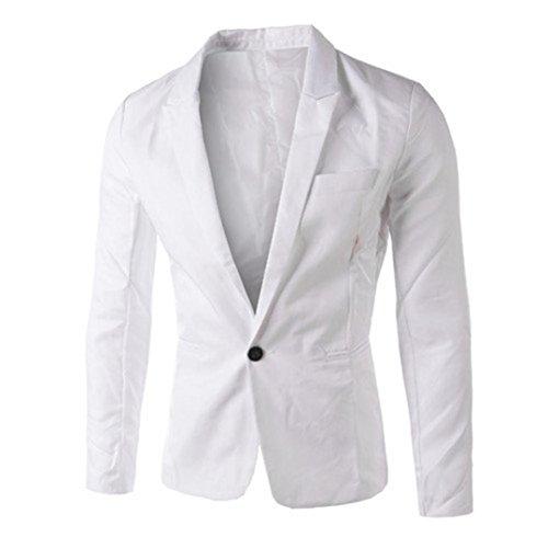 Elecenty Herren Übergangsjacke Blazer Jacke Solide Outdoorjacke Mantel Männer Oberbekleidung Pullover Sweatshirts Streetwear Steppjacke Outwear (XXXL, Weiß)