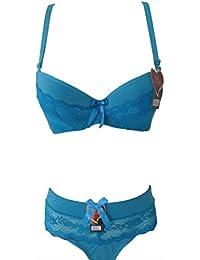 Lingerie femme ensemble bleu push up soutien gorge tanga Bonnet C