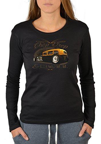 US-Car-Longsleeve-Damen/Langarm-Shirt Biker-Look: Chop Drop and Roll lässiges Auto-Design Schwarz