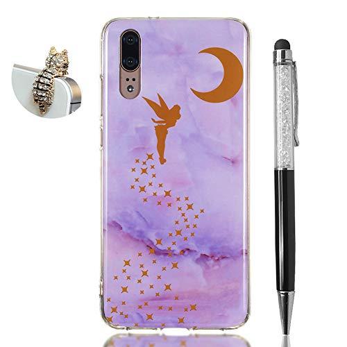 Hirkase Huawei P20 Cover,Antiurto Ultra Sottile Anti-Graffio Cassa del Telefono per della Copertura + Penna Stilo + Tappo Antipolvere(Elfo Marmo Viola)