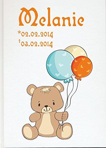 sign Personalisiertes Fotoalbum Buch zum Gedenken für Sternenkind mit Bär und Ballons (76 Seiten/ 38 Blatt) ()