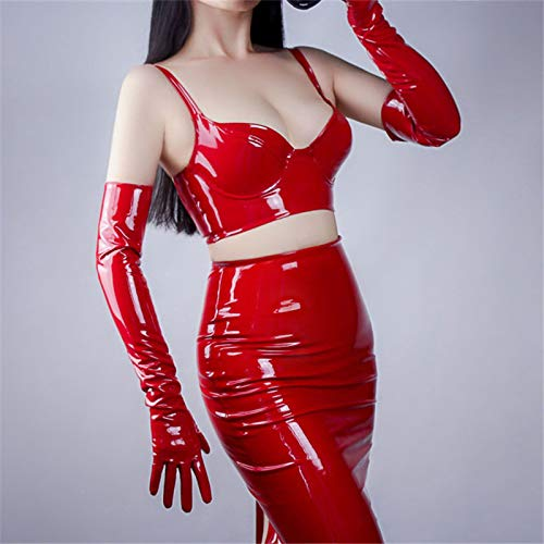 Midnight Heartbeat 2019 Fashionable Patent Leather Gloves Sexy Shop Bright Red PU Gloves Female Unlined Synthetic Leather Women Mittens Cosplay P14 Red Patent Bow