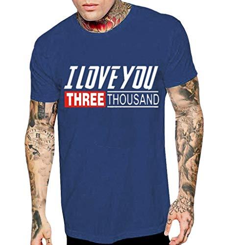 Auied Herren T-Shirt Kurzarm Top Bluse Lieben Dich Dreitausend Mal