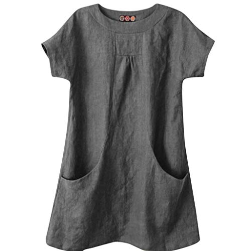 Yvelands Damen Fashion Bluse T-Shirt Lässig Solide Rundhals Kurzarm Leinen Lose Tasche Tops Bluse Shirt(Grau,S)
