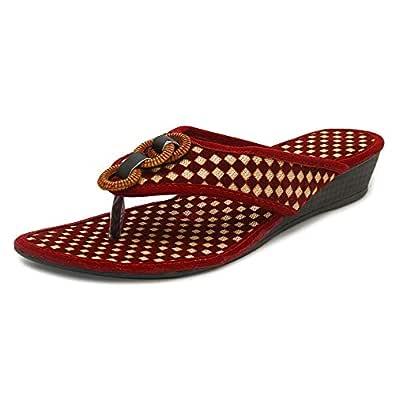 Midsole Womens Red Check Texture Fashion Heel Flatform - FT6021C1S3