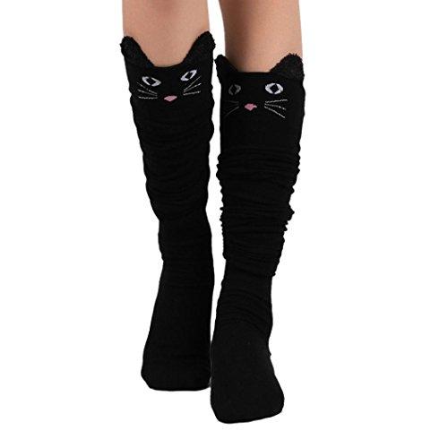Damen Kniestrümpfe Internet Katze Catoon Socken lange Socken über Knie hohe Socke (schwarz)
