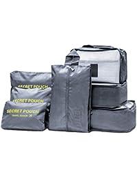 Balala Ensemble de 7 Organisateurs de voyage emballant des cubes Sac de blanchisserie Bagage Sacs de compression Sac dans le sac Organisateur pour des vêtements ,Cosmétiques, Chaussures, Bleu foncé