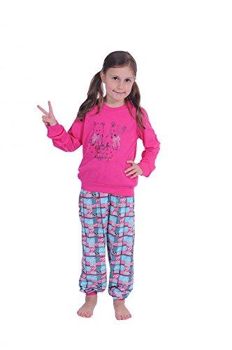 Cooler Mädchen Pyjama langarm mit Bündchen und süssen Hündchen als Motiv 58423, Farbe:pink;Größe:176 (Cooler Pyjama)