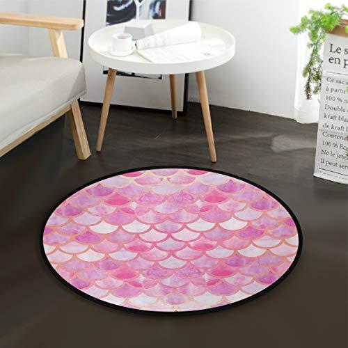 Aminka rosa Meerjungfrauen-Spielmatte für Kinder, rund, Krabbeln, rutschfest, für Schlafzimmer, Spielzimmer, Heimdekoration (Durchmesser 91,4 cm) -