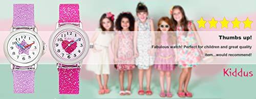 Kiddus Kinder Mädchen Uhr Analog Japanischer Quarz Armband mit Glitzer Wasserdicht FAB4 Stern - 2