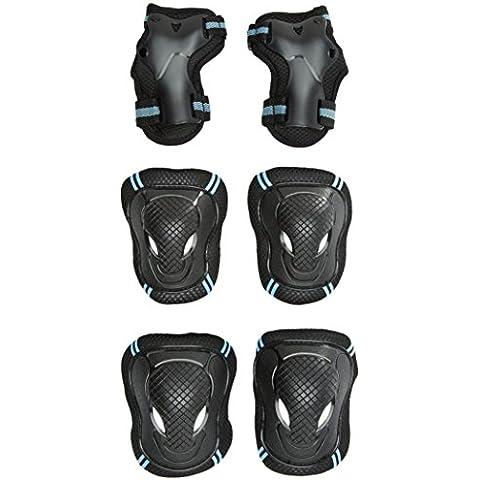 C'est - Set ginocchiere, gomitiere e polsiere protettive, per motociclismo, corsa, ciclismo e altri sport, unisex donna Bambino Uomo, C'est, Blue, L - Cuscinetto Ruota Corsa