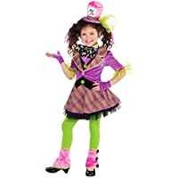 Girls Tartan Deluxe Mad Hatter Tea Party Fairytale Story Book Fancy Dress Costume with Tights Spats and Hat