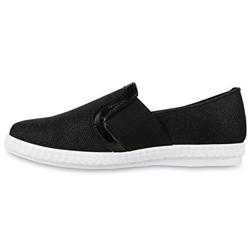 Slip-Ons Damen Glitzer Slipper Metallic Sneakers Freizeit Flats Schwarz