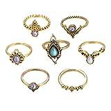 Schmuck Damen-Ring, Dragon868 7pcs / Set Bohemian Vintage Silber Stack Ringe über Knöchel Blau Ringe Set (Gold)