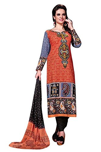 Vibes Women's Cambric Unstitched Dress Materials (V310-108_Orange Colour)