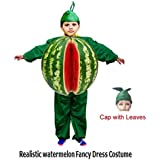 Fancy Steps Realistic Look Watermelon Fruit Fancy Dress Costume For School Competition | Annual Functions | Theme Party | Stage Show B'day Gift Age: 3 To 4 Yrs