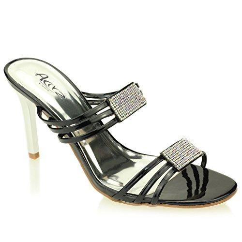 Donne Le Signore Sera La Festa tacchi alti Matrimonio Aperte Sposa Diamante Sandalo Scarpe Dimensione (Oro Chiaro, Nero, Argento)