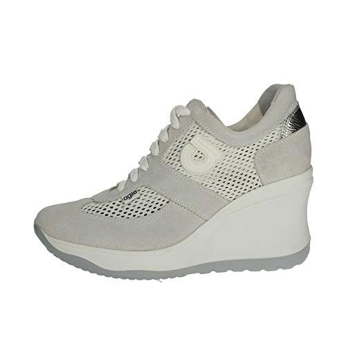 7d398fb8e5b7 Agile by Rucoline Sneaker Donna Traforata di Colore Bianco con Zeppa Alta  Articolo 1800 A Chambers