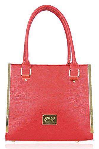 Logo In Metallo Kukubird Chic In Ecopelle Oro-tono & Passamanerie Tote Shoulder Bag Handbag Red