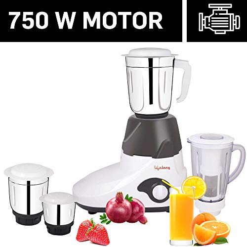 Lifelong 750 Watt Mixer Grinder with 3 Stainless Steel Jar + 1 Juicer Jar, White and Grey