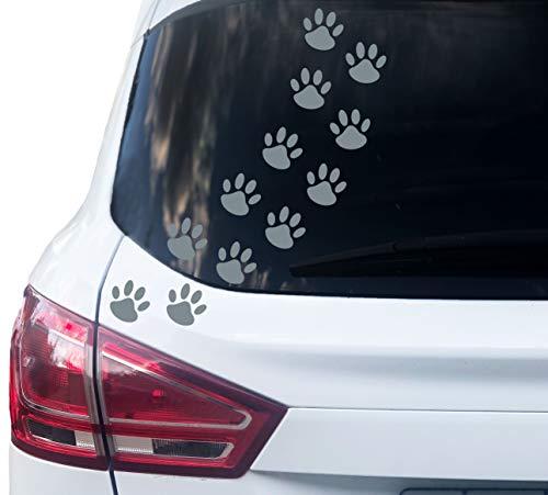 PrintAttack P001 | 12 Hundepfoten Aufkleber - Farbe wählbar (6cm x 6cm) (721 Schiefergrau)