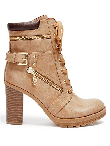 G By Guess Gogi Rund Kunstleder Mode-Stiefeletten Dark Natural