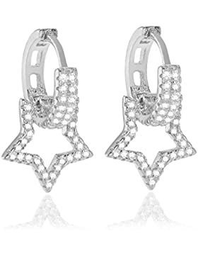 Karisma Damen Creolen Silber 925 Ohrringe Zirkonia Anhänger Stern Weiss FYE6184