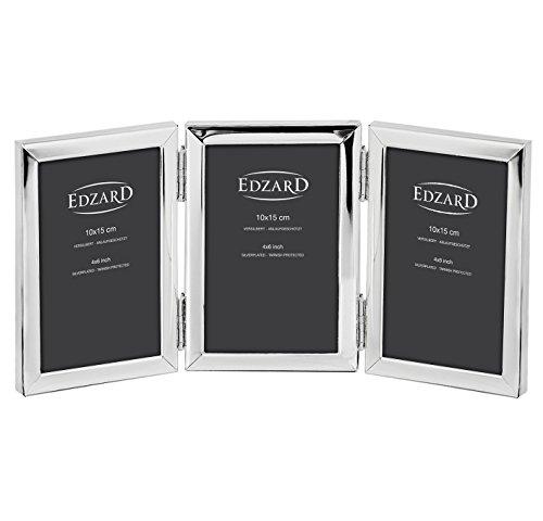 EDZARD Dreifach-Fotorahmen Aosta, edel versilbert, anlaufgeschützt, für 3 Fotos 10 x 15 cm (3 Generationen Bilderrahmen)