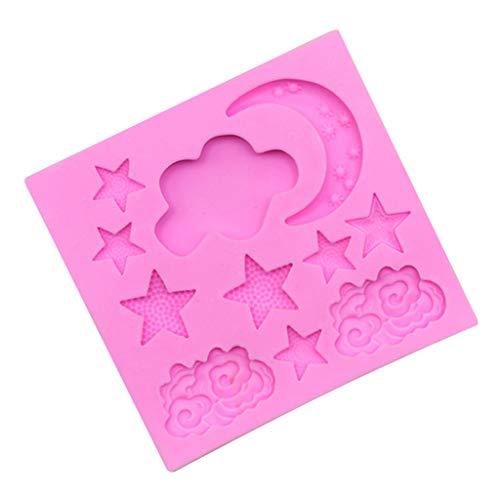 YA-Uzeun Silikonform für Fondant, Kuchen, Dekoration, Schokolade, Mond, Sterne, Muster