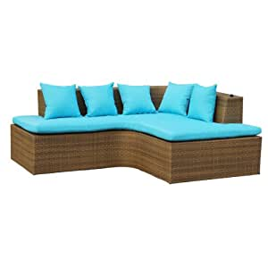 """Lounge Set """"HAWAII"""" aus Polyrattan, wetterfest und UV-Beständig (MANO LOUNGE) (Ocean blue)"""