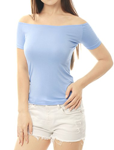Allegra K Damen kurze Arm Slim Fit Schulterfrei Tank Top Oberteil Shirts  Light Blau