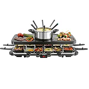vonshef 12 person raclette grill with 6 fork fondue set 12 raclette pans. Black Bedroom Furniture Sets. Home Design Ideas