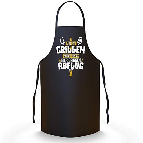 41C80Wc9oLL - YORA Grillschürze für Männer lustig - Bin am Grillen - Schürze als ideales Grillzubehör Geschenk für Männer - Z Gelb