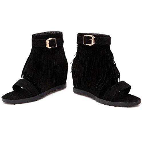 COOLCEPT Damen Mode Ankle Sandalen Open Toe Aufzug Schuhe Mit Zipper Schwarz