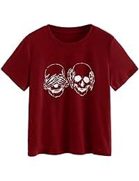 Cinnamou Camiseta de Mujer con Estampado de Calavera Camiseta de Manga Corta con Capucha Casual Blusa