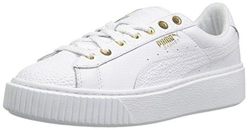 Puma Basket Platform Pearlized Cuir Baskets Puma-White-Puma Team Gold
